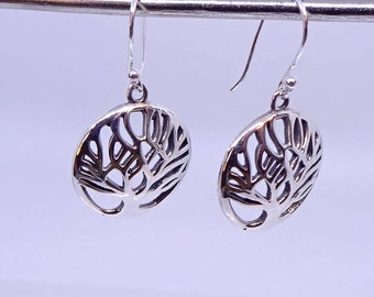 Beautiful tree of life sterling silver hanging earrings.