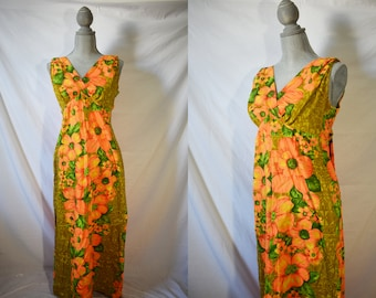 Vintage 60s Orange Floral Hawaiian Dress Boho Maxi Dress Summer Casual Dress Resort Wear Honolulu Luau Day Dress Mid Century Vacation Dress