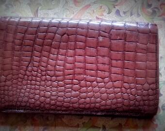 Vintage leather Crocodile style Billfold Wallet 1950's