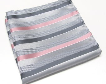 Pocket Square Silver Gray Dusty Rose Pink Stripes Hanky