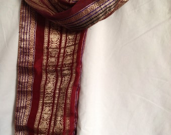 Pure silk stole/scarf- Indian silk sari stole made from red and  gold zari borders from India