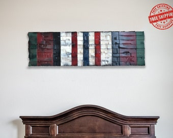 Service Ribbon, Afghanistan Campaign Ribbon, Wood Military Decor, Rustic Military Gift 41x12
