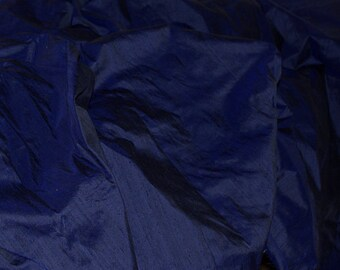 Silk Dupioni in  Navy Blue- Extra wide 54 inches Half Yard, DEX 201