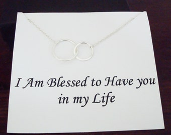Double Half Flat Circle Infinity Silver Necklace ~~Personalized Jewelry Card for Best Friend, Sister, Mom, Step Mom, Bridal Party, Cousin