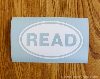 READ OVAL Decal - Vehicle Decal - Car Window Decal - Vehicle Sticker - White Oval - Reading Decal - Reader - Books Decal - Reading Sticker