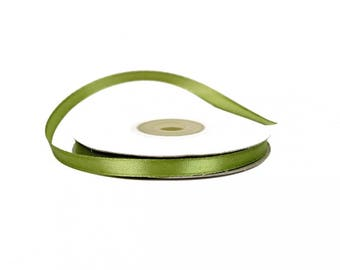 6 mm - spool of 25 meters of ref 563 OLIVE green satin ribbon