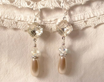Art Deco Champagne Pearl & Crystal Bridal Dangle Earrings, Vintage Silver Flapper Drop Earrings Downton Abbey 1920s Wedding Great Gatsby