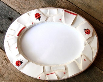 Mosaic Frame - Mosaic Ladybug Frame - Oval Photo Frame - Cottage Chic Mosaic Art - Boho Decor - Rustic Decor - Boho Artwork - Original Art