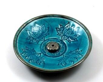 Incense Burner Lotus Handmade Raku Ceramic Pottery
