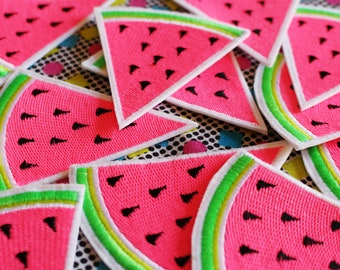 Watermelon -  Fluorescent Summer ! - Embroidered Iron on Patch, Sew on, Jacket, Bag, Jeans, Motif, Customise
