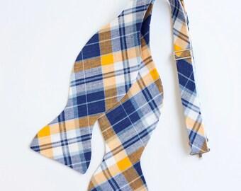 Bow Ties, Bow Tie, Bowties, Mens Bow Ties, Freestyle Bow Ties, Self-Tie Bow Ties, Groomsmen Bow Ties - Navy And Yellow Organic Madras Plaid