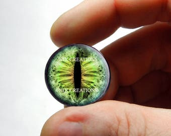 Glass Eyes - Mountain Moss Dragon Glass Eyes Glass Taxidermy Doll Eyeball Cabochons - Pair or Single - You Choose Size