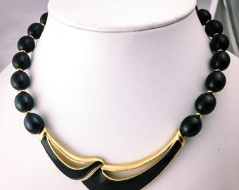 Trifari necklace, black and gold,  black enamel necklace, vintage statement necklace, black gold, 1980s, bead necklace, bib necklace