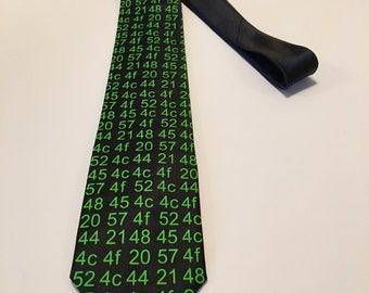 HELLO WORLD! in hexadecimal code , Computer Science Necktie