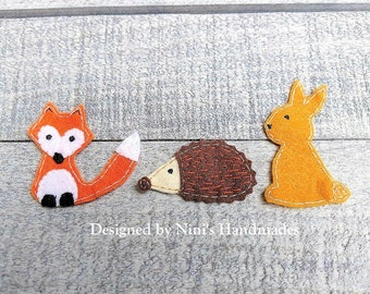 Set of 3 Woodland inspired Iron On Felt Applique with a Fox Hedgehog and Rabbit  inspired felt patch, Patch For Kids, Iron on Kids Apparel