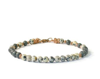 Aromatherapy Bracelet, Natural Lava Stone and Dalmatian Jasper, Essential Oil Diffusing Jewelry