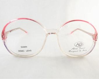 Round Eyeglasses, Hippie Glasses, Plastic Pink Glasses, Fun Eyeglasses, Pink Purple Frames, Two Tone Glasses, Womens Vintage Eyeglass Frames