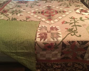 Dusty rose oversized queen quilt or king coverlet 104x91