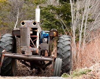 Tractor Photograph, Downloadable Photo,  Fine Art Photography, Iron Workhorse Photo,Winter Photo,Landscape Photograph,Nova Scotia Photograph