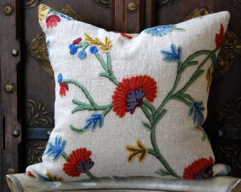 18x18 Rustic Designer Crewel on Hand Loomed Linen and Velvet Pillow Cover\/Cushion Cover