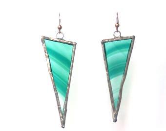 Triangle Earrings, Stained Glass Earrings, Statement Earrings, Geometric Earrings