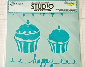 Claudine Hellmuth, The Crafter's Workshop, TCW & Ranger, 6X6 Stencil, Cupcake, for scrapbooking, mixed media, art journaling, paper crafting