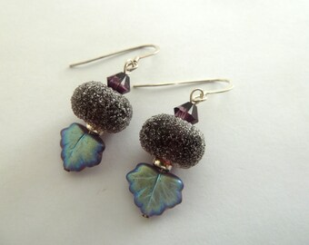 handmade lampwork purple berry sterling silver earrings UK