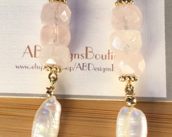 Rose Quartz and Pearl Gold Filled Dangly Earrings