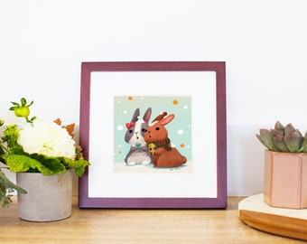 Bunny Couple with Gift Small Art Print