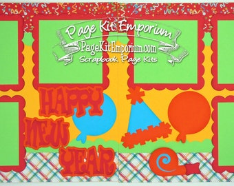 Scrapbook Page Kit Happy New Year 2 page Scrapbook Layout 043