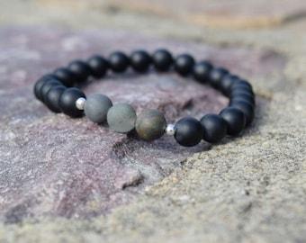 Bead Bracelet // Unisex Bracelet // Gemstone Beads // Matte Black Onyx Beads // Rasta Bracelet