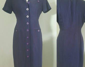 1980s Navy Shirt Dress Size 12 Vintage Clothing Women/Vintage Dress/Vintage Retro .Maxi Dress.