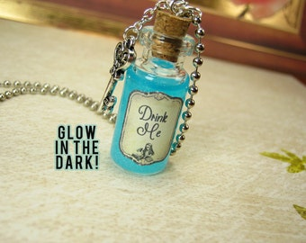 Drink Me - Alice in Wonderland - 2ml Glass Bottle Necklace Charm - Cork Vial Pendant - Christmas Potion