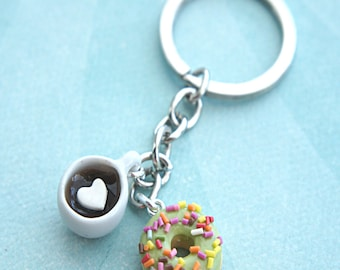 donut and coffee keychain- donut charm, coffee charm, doughnut keychain
