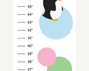 Personalized Polka Dot Penguins Canvas Growth Chart