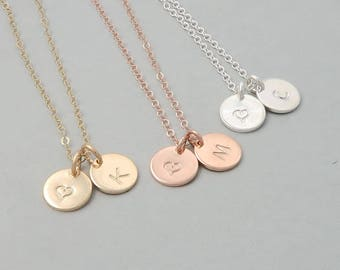 Heart and Initial Necklace, gift for her, personalised dainty initial hand stamped disc
