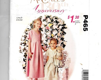 """McCall's Girls' Dress and Dress for 18"""" Doll Pattern P465"""
