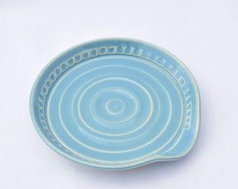 Spoon Rest in Robin's Egg Blue - Stoneware Ceramic Pottery