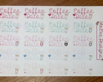Planner Stickers: Coffee Date- made for the Happy Planner, EC, Filofax, Kikki. K and more.