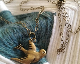 """Free to fly Bird Charm Natural Brass 18"""" Necklace"""