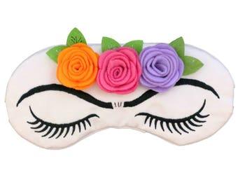 Frida Go To Sleep Vintage Glam Roses Eyebrows Sleep Mask