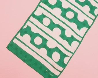 60s 70s Geometric Print Scarf // Mod Scarf // Vintage Scarf // Designer Scarf // Green Scarf // Silk Scarf // Echo Scarf
