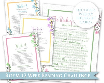 Book of Mormon Scripture Reading Chart & Thought Card - LDS Digital PRINTABLE 12 Week Challenge Young Women Personal Progress Relief Society