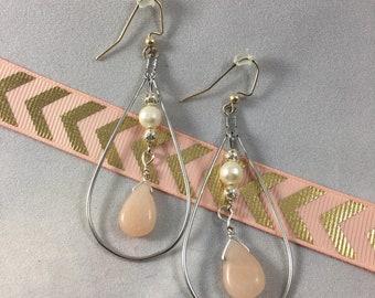 Pink Teardrop and Pearl Silver Hoop Earrings
