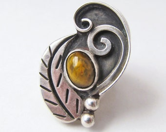 Big Bold Statement Ring, Vintage Sterling Silver Ring, Tigers Eye Ring, Brown Stone Ring, Silver Leaf Ring, Unique Bold Jewelry, Ring Size 7
