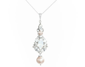 Champagne Blush Pearl Necklace, Wedding Champagne Pearl Necklace ,Opal Swarovski  Crystal Necklace ,Pendant Necklace ,Bridal Jewelry