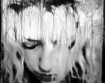 surreal portrait, dreamy portrait, woman nature photo, trees, forest, nature portrait photo, woman face, home decor, fine art, girl, mind