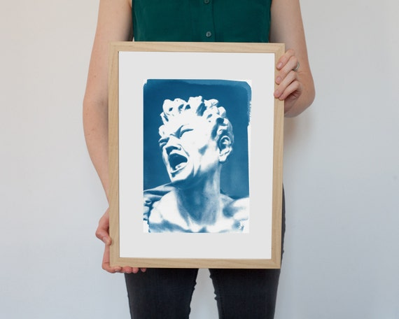 Gian Lorenzo Bernini, The Damned Soul Sculpture, Awesome Expression, Cyanotype Print on Watercolor Paper, A4 size (Limited Edition)