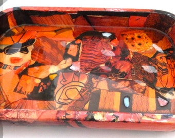 Recycled Magazine Collage on Resin-coated Wooden Tray