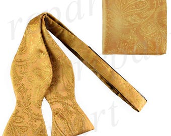 New Men's Paisley Gold Self-Tie Bowtie and Handkerchief, for Formal Occasions